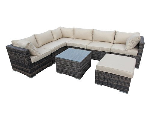 8 Piece Corner Sectional Outdoor Garden Patio Furniture - Taupe