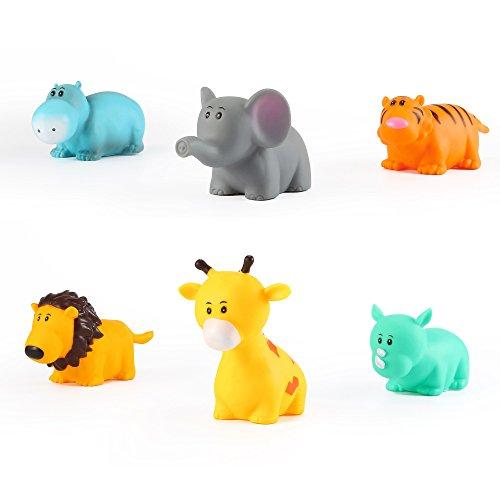 Hippo Bath Set (Safari Bath Buddies Set Bath Squirt Toy Set - Hippo, Elephant, Tiger, Lion, Giraffe, Rhino by Kinder)