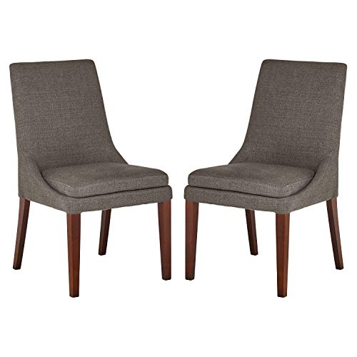 Stone & Beam Alaina Upholstered Dining Kitchen Chairs, 37 Inch Height, Set of 2, Grey