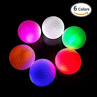 Taihemingna 6pcs Flashing Glowing Golf Ball,Night Glow Flash Light up LED Golf Ball Long Lasting Reusable Bright Night Glow Electronic Golf Ball for Dark Night Sport Practice Training