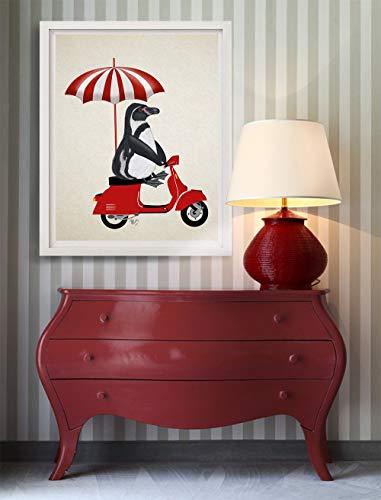 (Cazvas Penguin Print - Penguin red Moped - Penguin Nursery Art Penguin Gift Penguin dÃcor Penguin Picture Penguin Illustration Penguin Poster Frame)
