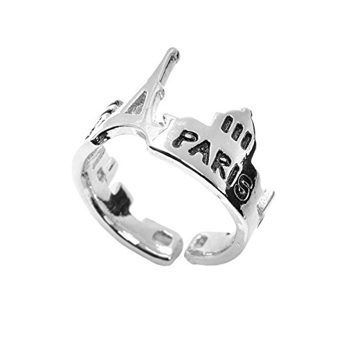 SpinningDaisy Paris and Eiffel Tower Souvenir Ring Silver (Tower Ring Eiffel)