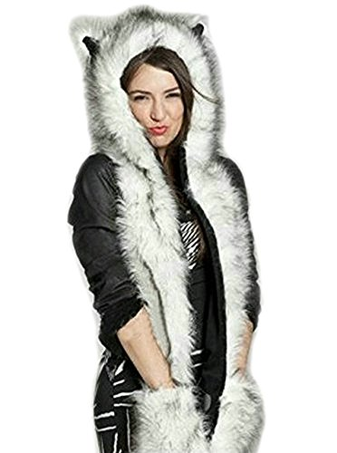 Animal Head Hats (Faux Fur Animal Head Hat Hood Scarf Glove Cute Ear Bear Paw Pocket Anime Cosplay, Pattern 8, One Size)