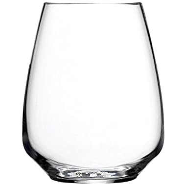 Luigi Bormioli Atelier Stemless Riesling Wine Glass, 14-Ounce, Set of 6