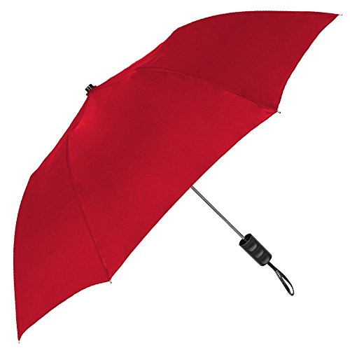 StrombergBrand Spectrum Popular Style Automatic Open Close Small Light Weight Portable Compact Tiny Mini Travel Folding Umbrella for Men and Women, Red