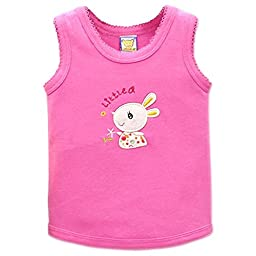 Little Q Baby Pure Cotton Baby Tops Toddler Vest(Rose,18-24M£©