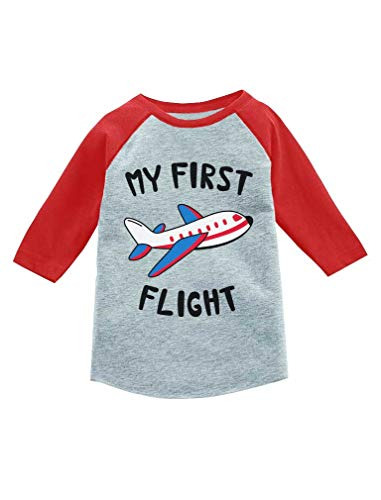 My First Flight Cute Travel Outfit 3/4 Sleeve Baseball Jersey Toddler Shirt 2T ()