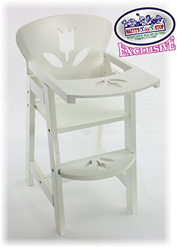 Matty's Toy Stop 18 Inch White Wooden Doll High Chair with Lift-Up Tray & Floral Design (Fits American Girl Dolls)