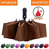 Fidus Inverted Reverse Sun&Rain Car Umbrella Large Windproof Travel UV Umbrella for Women Men - Auto Open Close(Coffee)