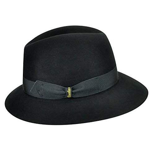 Borsalino Female 213002 Qualita Superiore Fur Felt Fedora Black (Grey Band) 7 1/2 by Borsalino
