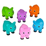 One Dozen Colorful Rubber Pigs 2 Inches Long