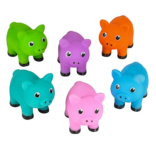 One Dozen Colorful Rubber Pigs 2 Inches Long ()