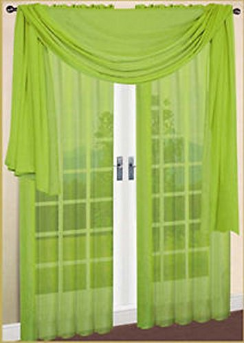 Gorgeous Home 3PC LIME NEON GREEN VOILE SHEER WINDOW CURTAIN SET 2 PANEL 1 VALANCE SCARF TREATMENT DRAPE SWAG TOPPER 84' LENGTH