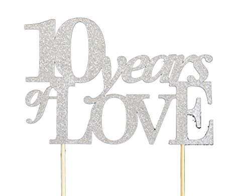 All About Details Silver 10-years-of-love Cake Topper