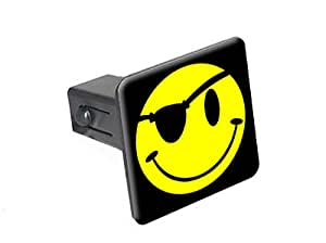 "Smile Smiley Pirate Face - 1 1/4 inch (1.25"") Tow Trailer Hitch Cover Plug Insert"
