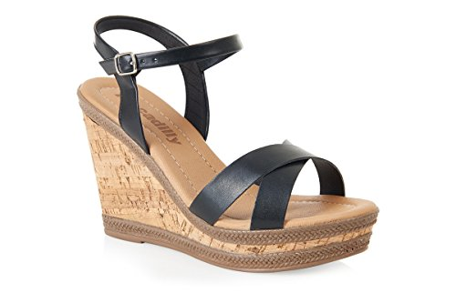 Women's Black Strap Heel 805047 Wedge Sandals Piccadilly Cross xxrZUOqp