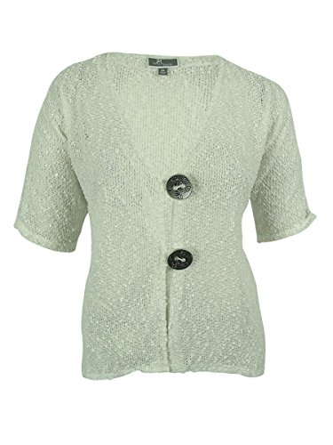 JM Collection Women's Open Knit Glitter Detail Cardigan (2X, Bright White)