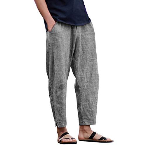 (Mens Cotton Linen Pants Xlala Summer Simple Harem Pants Fashion Solid Color Trousers Drawstring Sweatpants (Gray, L))