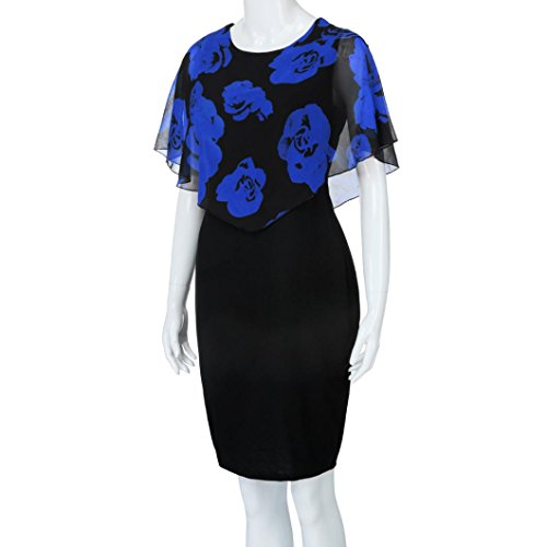 Mujer Con Talla Azul Vestido Vestido Estampado Vestido Plisada Floral De Gasa Manga LHWY De Redondo Verano Cuello Corto Grande 5wq8pXq