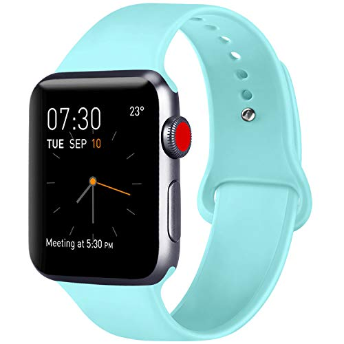 ATUP Compatible with for Apple Watch Replacement Band 38mm 40mm 42mm 44mm Women Men, Soft Silicone Band Compatible with for iWatch Series 4, 3, 2, 1 (Light Blue, 38mm/40mm-S/M)