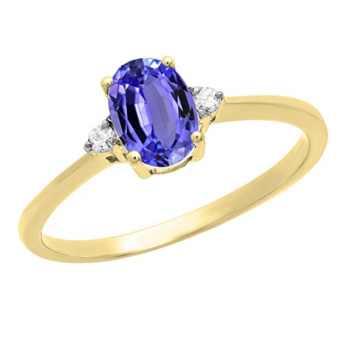 Dazzlingrock Collection 18K 7X5 MM Oval Tanzanite & Round Diamond Bridal Promise Engagement Ring, Yellow Gold, Size 7.5 ()