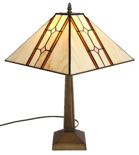 Amora Lighting AM1050TL13 Tiffany Style Mission Table Lamp, 17.7-Inch, Multi ()