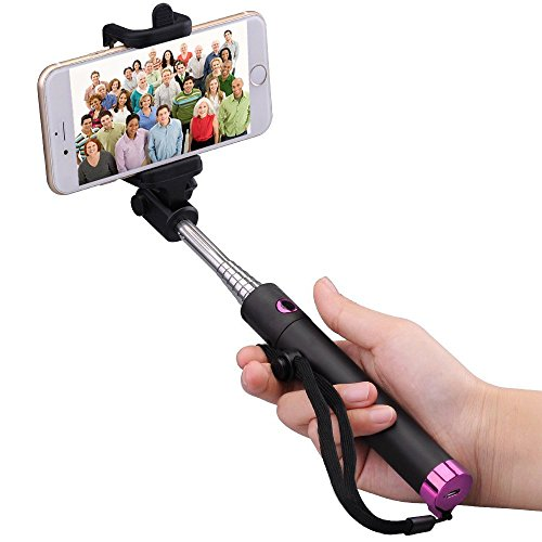 COOLEAD Selfie Stick, Bluetooth Remote Shutter Extendable Pole Monopod for iOS &Android (Rose)