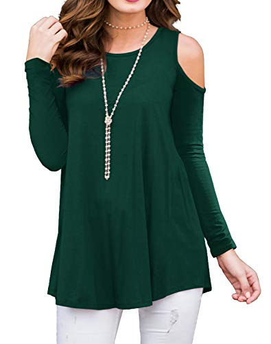 - PrinStory Womens Long Sleeve Off Shoulder Round Neck Casual Loose Top Blouse T-Shirt Dark Green-L