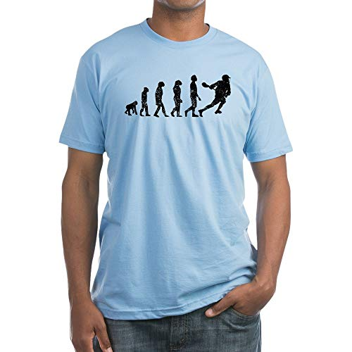 CafePress Distressed Lacrosse Evolution T Shirt Fitted T-Shirt, Vintage Fit Soft Cotton Tee Baby Blue