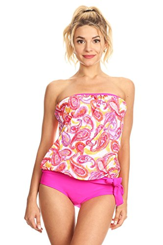 Dippin' Daisy's Pink Paisley Strapless Bandeau Blouson Tie Tankini Swimsuit Set Size 18