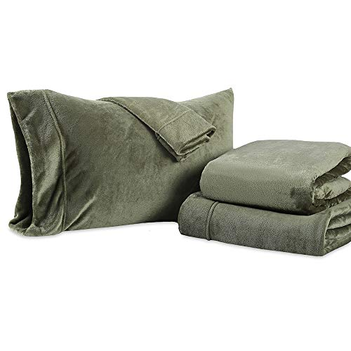 Berkshire Blanket, Ultra Soft VelvetLoft Plush Sheet Set, King Size, Loden