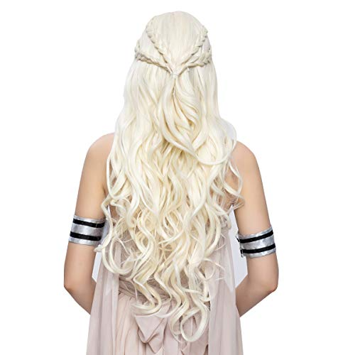 Halloween Costume Makeup Games (Daenerys Targaryen Cosplay Wig for Game of Thrones Season 7 - Khaleesi Costume Hair Wig (Light)