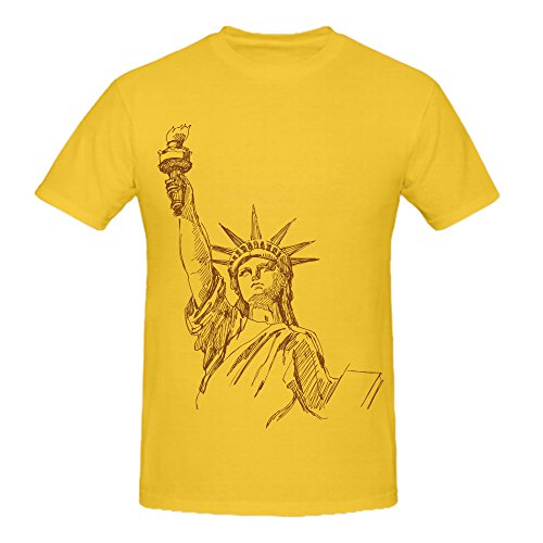 100% Cotton Mens Yellow Summer Fashion DIY Tops Tees Short Sleeve Statue of Liberty T Shirt National Geographic Style O Neck Casual T Shirt