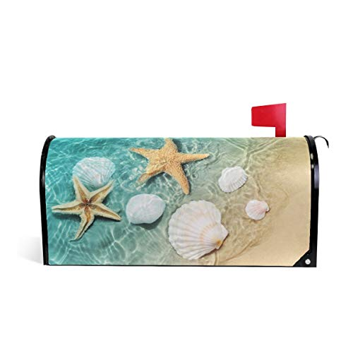 ZZKKO Mailbox Decor Starfish and Seashell on The Summer Beach Mailbox Covers Magnetic Seasonal Colorful Pattern Home Houses Letter Box Cover Decorations,20.8x18 Inch Standard Size,Multicolor