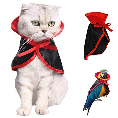 Heyeery Pet Dog Cat Cloak, Cat Costume Halloween Pet Costumes Pet Cape Cat Pet Apparel Funny Holiday Decorations Clothing for Black Halloween Bloody Zombie Party for Small Dogs and Cats (Black) -