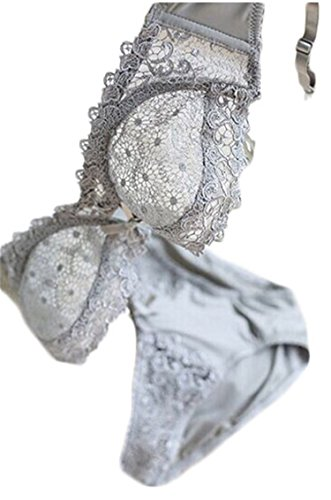 Lingerie Sexy Lace Bra Set Brand Underwear Ultra-thin Transparent Women Bra Set Girl Sexy Bra And Panty Sets Gray 90D