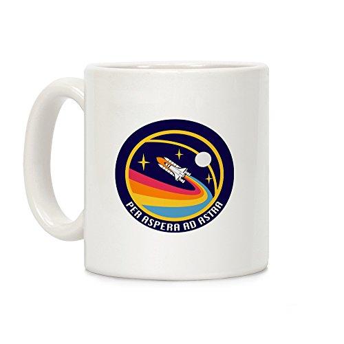 LookHUMAN Per Aspera Ad Astra Vintage Logo White 11 Ounce Ceramic Coffee Mug
