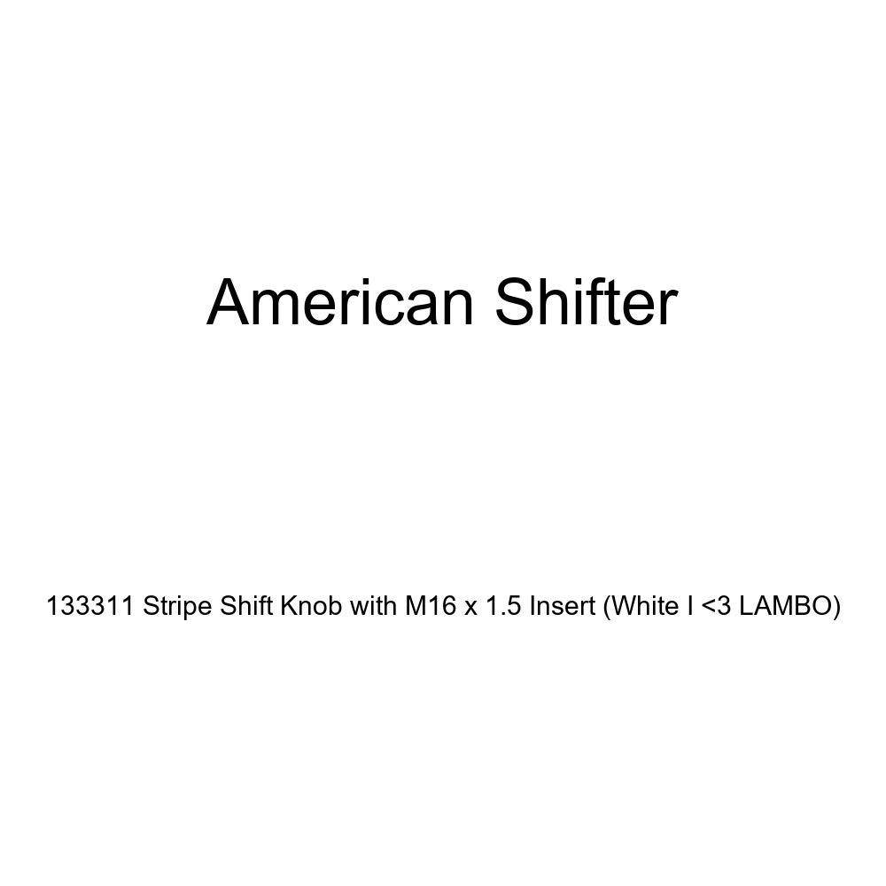 American Shifter 133311 Stripe Shift Knob with M16 x 1.5 Insert White I 3 Lambo