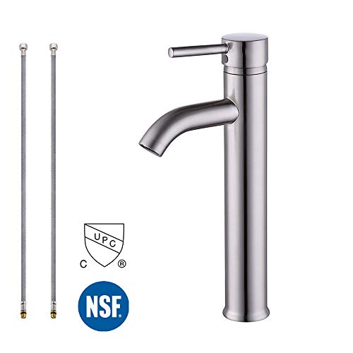 KES L306B-2 Euro Modern Contemporary Bathroom Vessel/Bowl Sink Lavatory Faucet Tall, Brushed Nickel