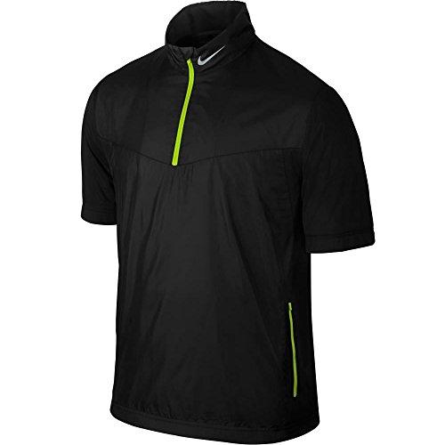 Nike Golf Shield Short Sleeve 1/2-Zip BLACK/VOLT/WOLF GREY (Nike Windproof 1/2 Zip Jacket)