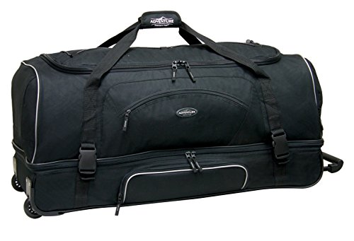 """Travelers Club 36"""" ADVENTURE Double Packing Compartment Rolling Duffel, Black Color Option"""