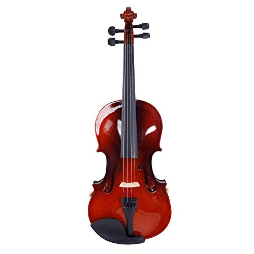 Olymstore 1/8 Acoustic Violin for Beginners Children, Solid Wood Violin Kit with Carrying Case, Bow, Rosin, Shoulder Rest and Tuner, Natural Color