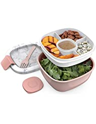 Bentgo Salad BPA-Free Lunch Container with Large 54-oz Bowl, 3-Compartment Bento-Style Tray for Salad Toppings and Snacks, 3-oz Sauce Container for Dressings, and Built-In Reusable Fork (Blush Marble)