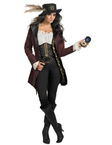 Disguise Women's Disney Pirates Of The Caribbean Angelica Prestige Costume, Black/White/Burgandy/Gold, Medium