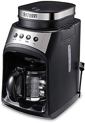Cafetera Razorri RCGE600A | Cafetera de filtro con molinillo | Función de placa calefactora y antigoteo | Jarra de vidrio de 560 ml, hasta 4 tazas | 175 x 280 x 295 mm | 600W, 60Hz: Amazon.es: Hogar