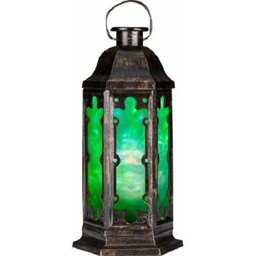 Lightshow Tabletop Lantern Gold/Black with Green Film Kaleidoscope Halloween Decoration (Halloween Tabletop)