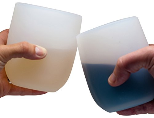 Jokel Large Silicone Wine Glasses - Sturdier Unbreakable Stemless Rubber Squishy Cups, 16oz, Set of...