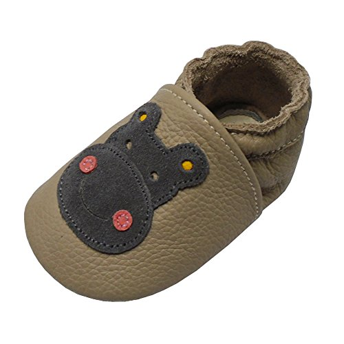 Yalion Soft Sole Baby Leather Moccasins Infants Toddlers Moccs First Walking Training Shoes (6-12 Months, Dark Tan) ()