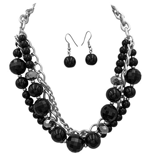 Gypsy Jewels Layered Chain Statement Silver Tone Boutique Necklace & Earrings Set (4 Row Black Bead) ()