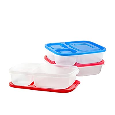 Premium 3-compartment bento lunch box containers,3 Piece meal prep set